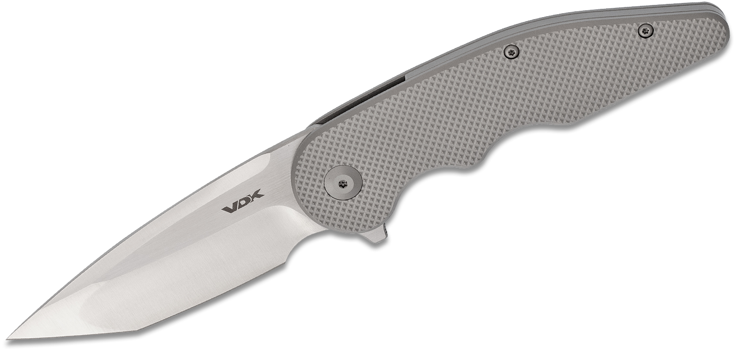 VDK Knives Wasp Flipper Knife 3.45 inch M390 Compound Tanto Blade, Milled Titanium Handles