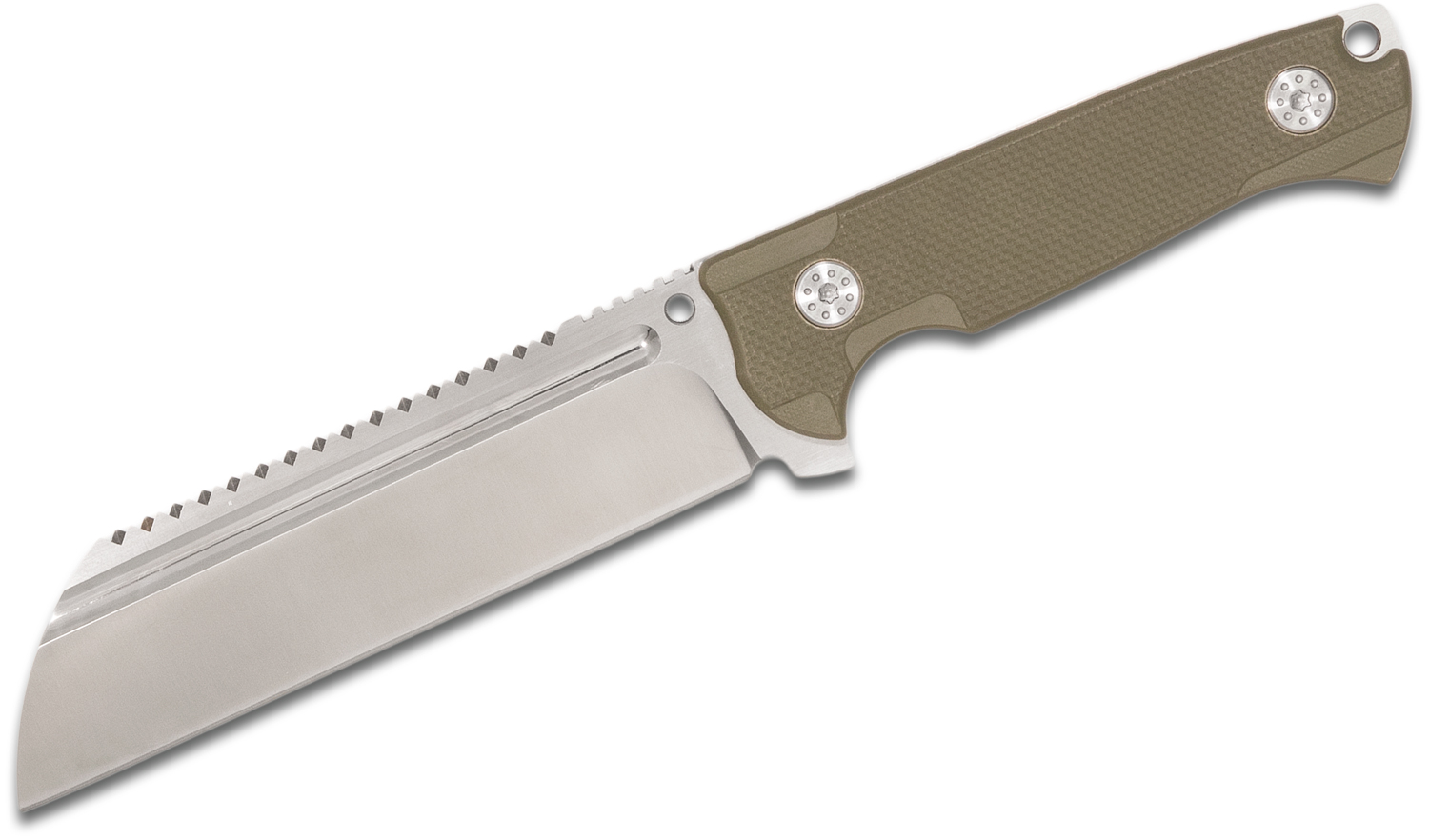 Andre De Villiers Knives Saw Butcher Fixed 6 inch S35VN Sawback Wharncliffe Blade, OD Green G10 Handles and Kydex Sheath