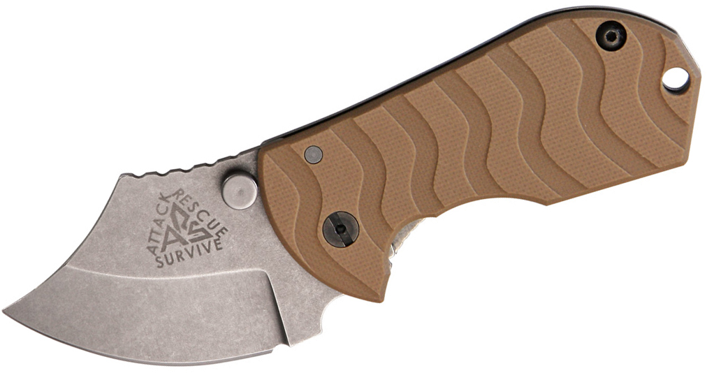 ARS Knives Flip Shank Frame Lock 2 inch 154CM Stonewashed Plain Blade, Coyote Brown G10 Handle