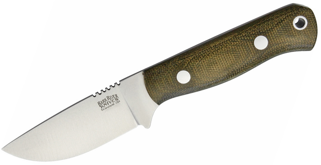 Bark River Knives Bravo Necker Fixed 2.8 inch CPM-154 Blade, Green Canvas Micarta Handles, Leather Sheath
