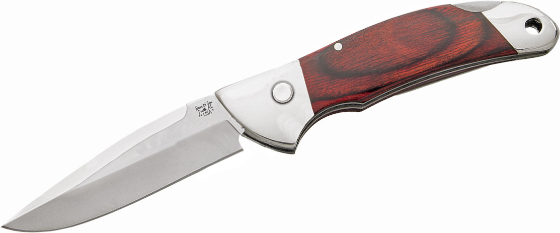 Bear & Son 2A08R Automatic Lockback Folding Knife 3.875 inch Closed, Rosewood Handles