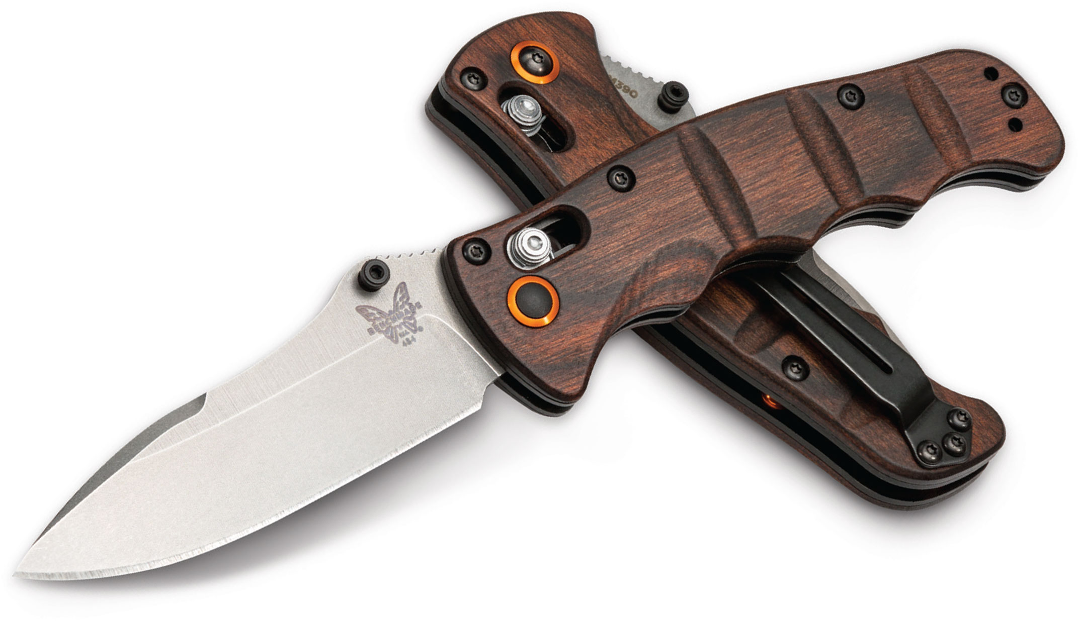 Benchmade 484-1601 Nakamura AXIS Folding Knife 3.08 inch M390 Plain Blade, Wood Handles, KnifeCenter Exclusive