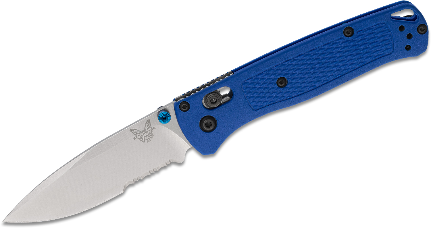Benchmade 535S Bugout AXIS Folding Knife 3.24 inch S30V Satin Combo Blade, Blue Grivory Handles