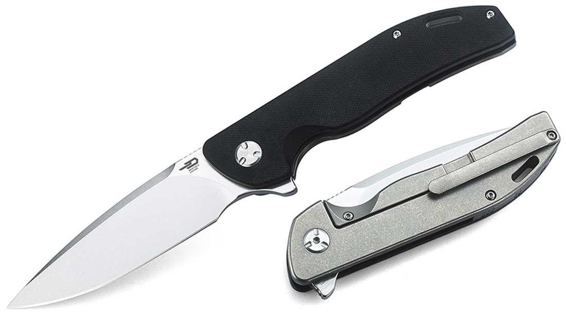 Bestech Knives Bison Flipper Knife 3.58 inch D2 Stonewashed Drop Point, Black G10 and Gray Stonewashed Titanium Handles