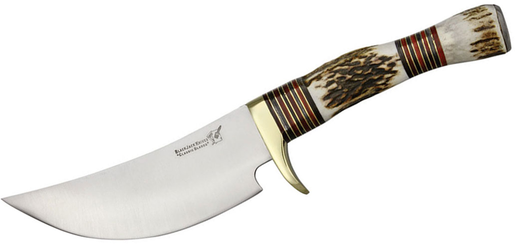 Blackjack International Obadiah Skinner Fixed 5-1/8 inch Blade, Genuine Stag Handles
