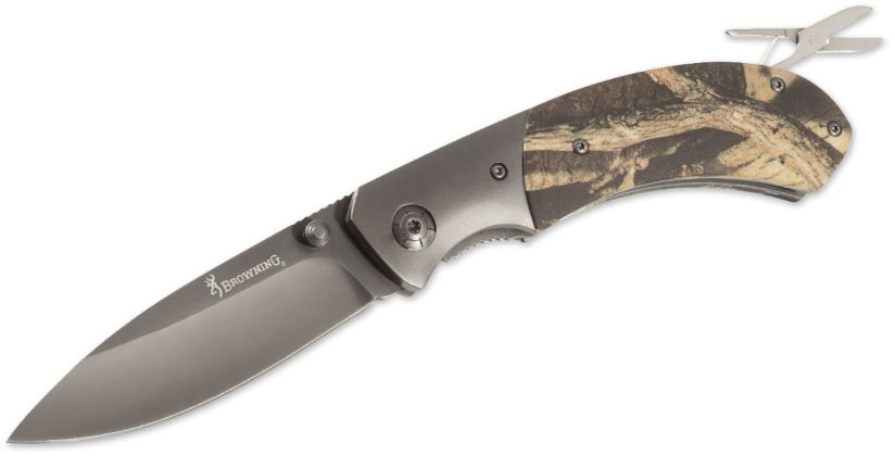 Browning Tagged Out Folding Knife 3.5 inch Blade, Mossy Oak Break-Up Infinity Aluminum Handles with Scissors