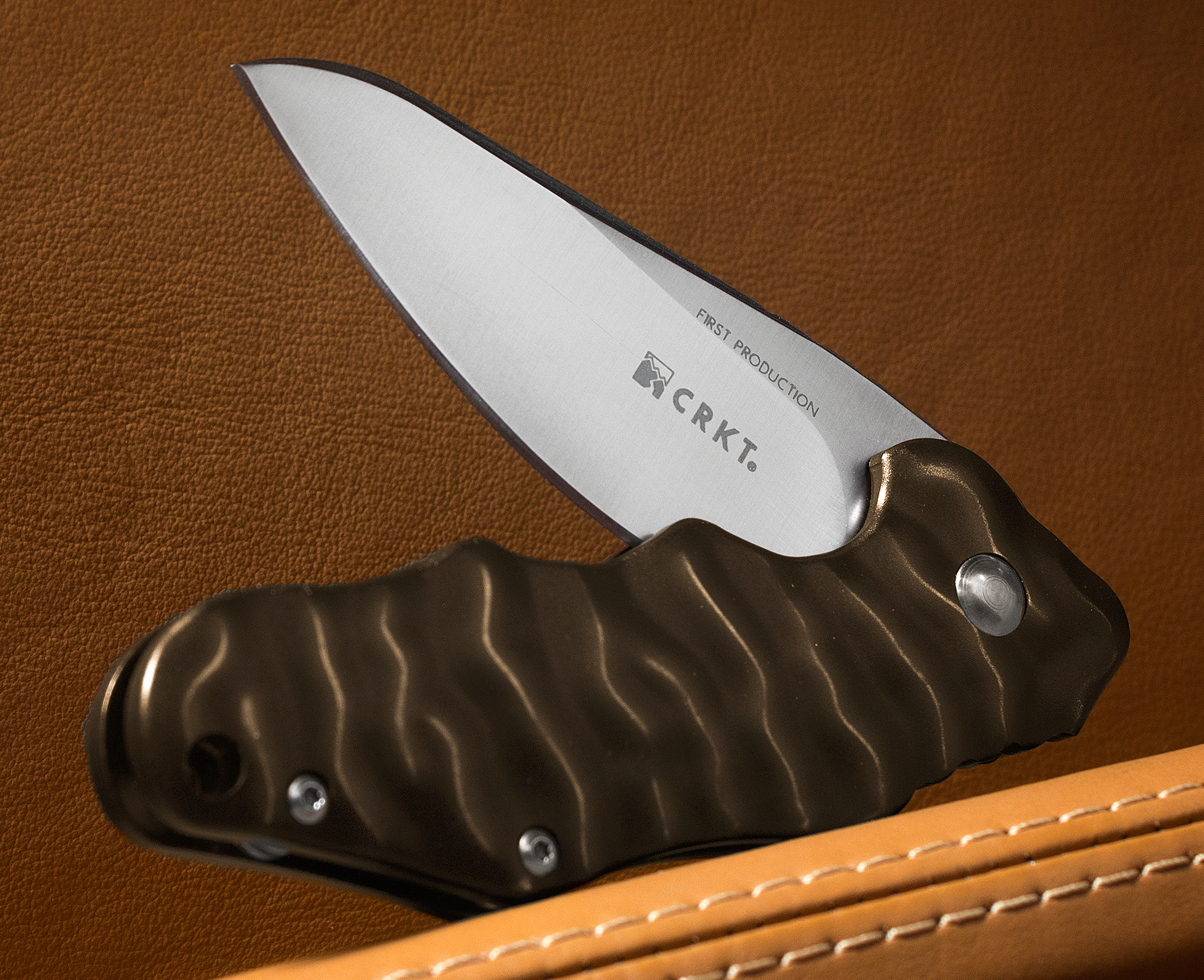 Columbia River K200BXP Ken Onion Wrinkle Flipper 2.57 inch Satin Blade, Brown Aluminum Handles