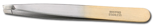 DOVO Silver and Gold Color Slanted Tip Stainless Tweezer From Germany