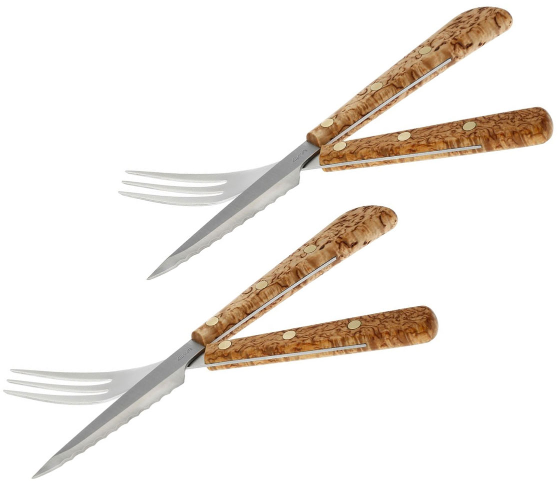 EKA Cuisine 4 Piece Fork and Knife Table Set, Curly Birch Handles