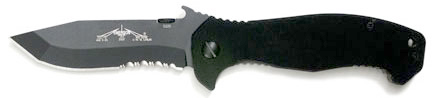 Emerson CQC-15 Folding Knife 3.9 inch Black Combo Blade with Wave, Black G10 Handles