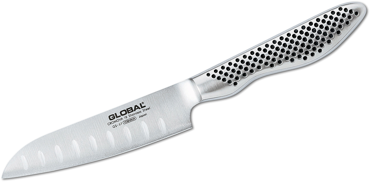 Global GS-57 Kitchen 4 inch Santoku Knife, Hollow Ground