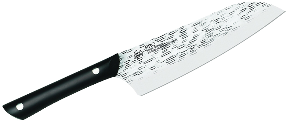 KAI PRO 7 inch Santoku Knife Hammered Blade, Black Polyoxymethylene Handle