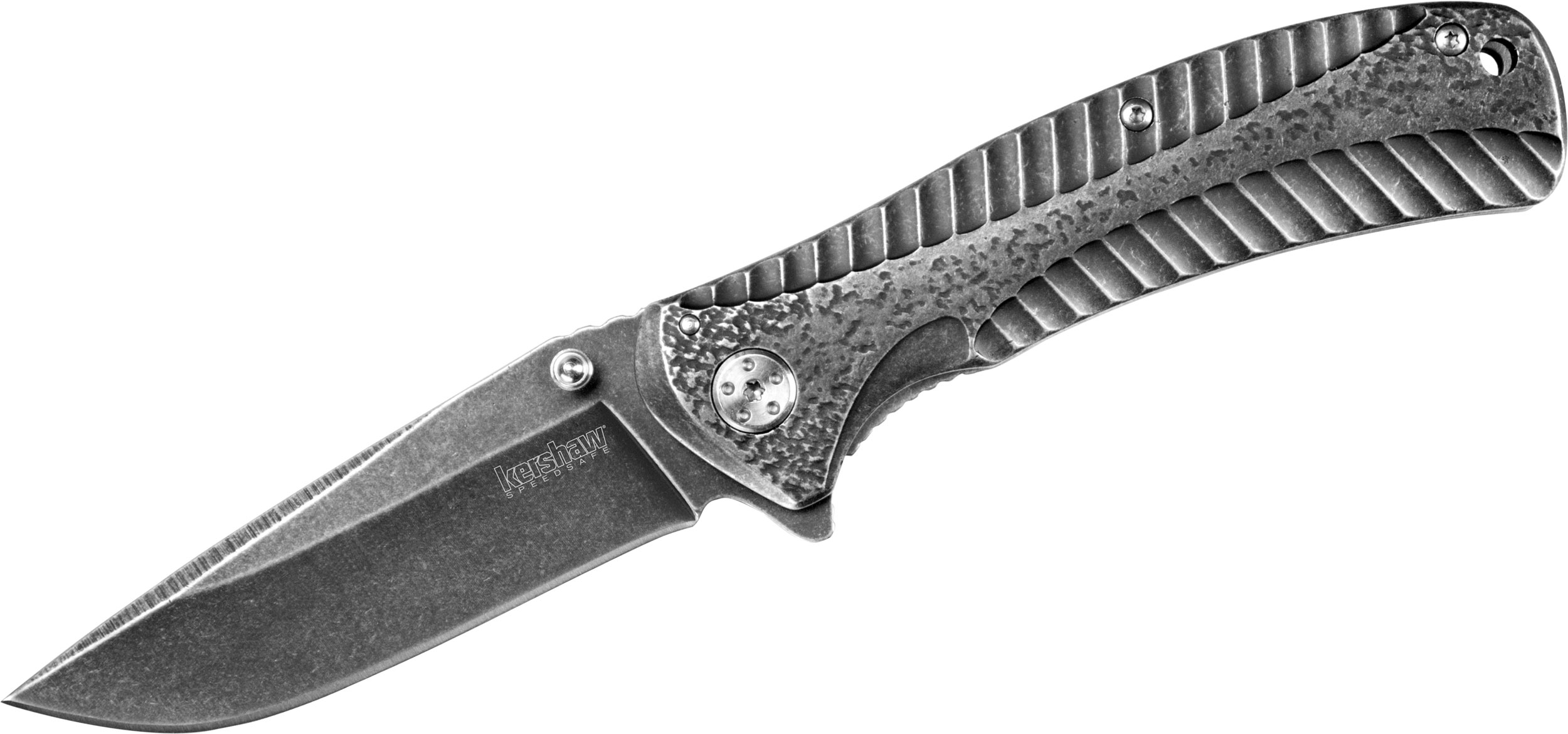 Kershaw 1301BW Starter Assisted Flipper Knife 3.4 inch Blackwash Plain Blade, Stainless Steel Handles