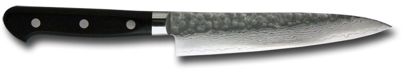 Kikuichi Petite Tsuchime Damascus Style All Purpose Knife 5.3 inch Hammered Blade (WGAD13-05-3SP)
