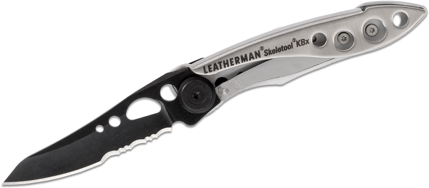Leatherman Limited Edition Black & Silver Skeletool KBx Folding Knife 2.6 inch Combo Blade, Stainless Steel Handles