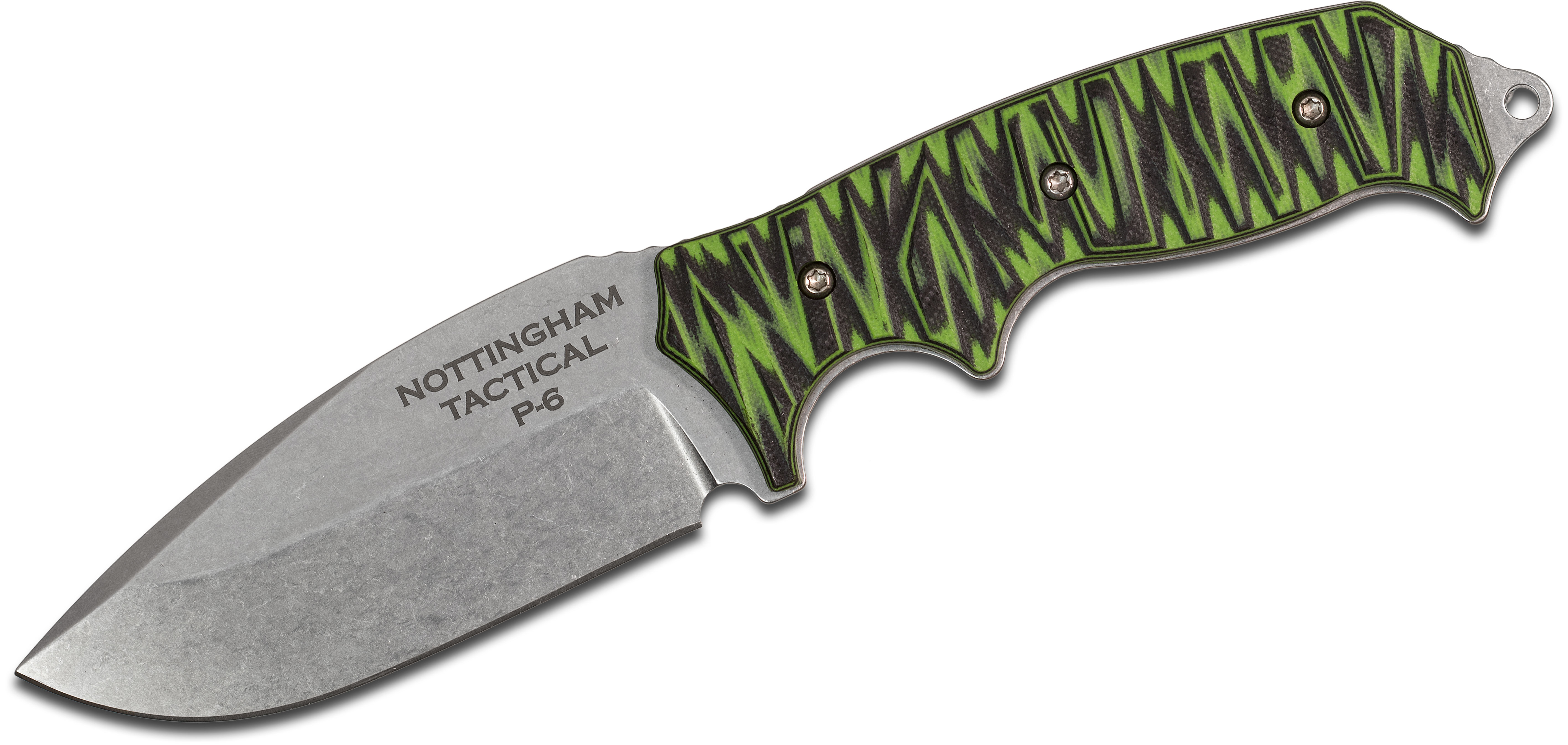 Nottingham Tactical P6 Fixed 4 inch Stonewashed CPM-154 Blade, Milled Green/Black G10 Handles, Kydex Sheath