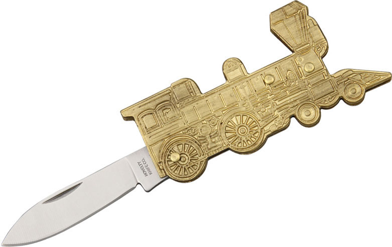 Novelty Knife Company Sculpted Brass Train Folding Pen Knife 2-3/4 inch Closed