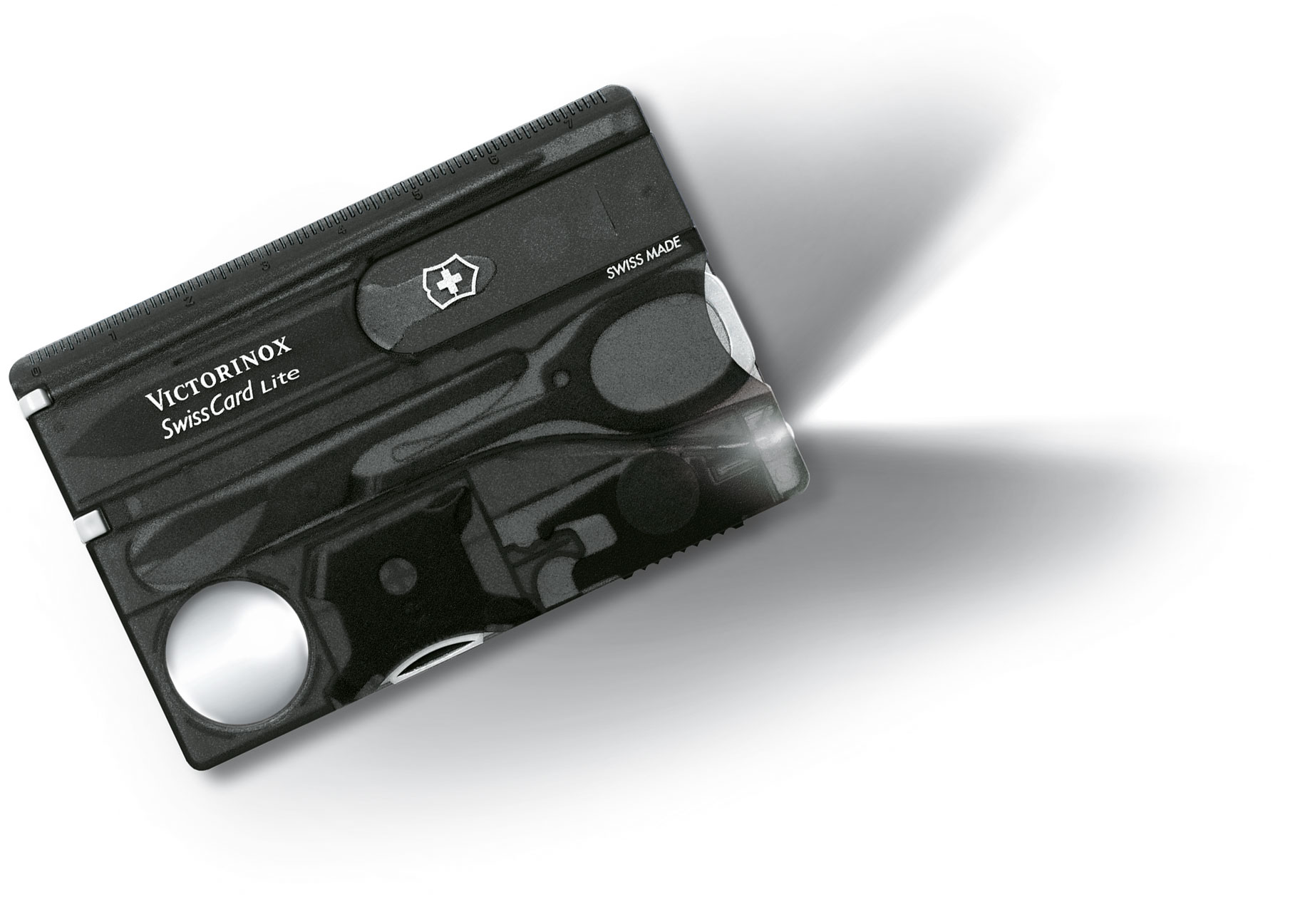 Victorinox Swiss Army SwissCard Lite Multi-Tool with White LED Light, Translucent Onyx