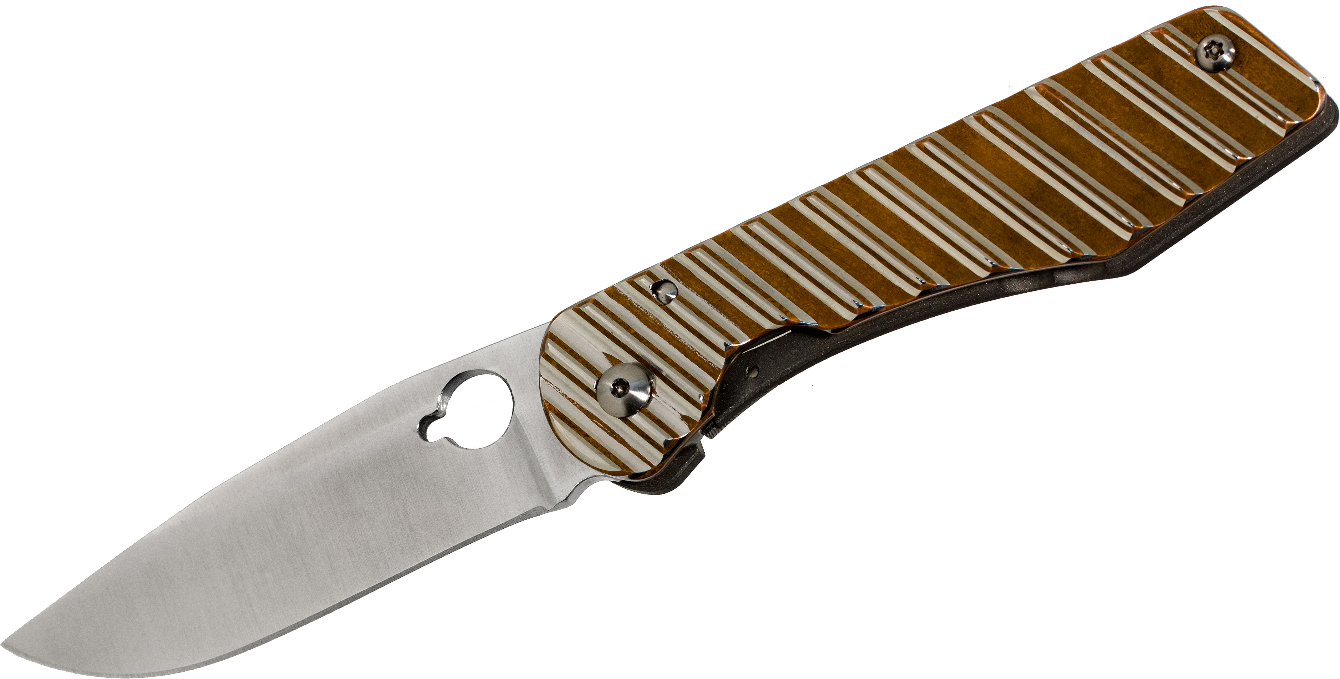Schanz Handmade Knives Custom DPPK2 Folder 3.625 inch Niolox Plain Blade, Bronze Titanium Laminate Handle