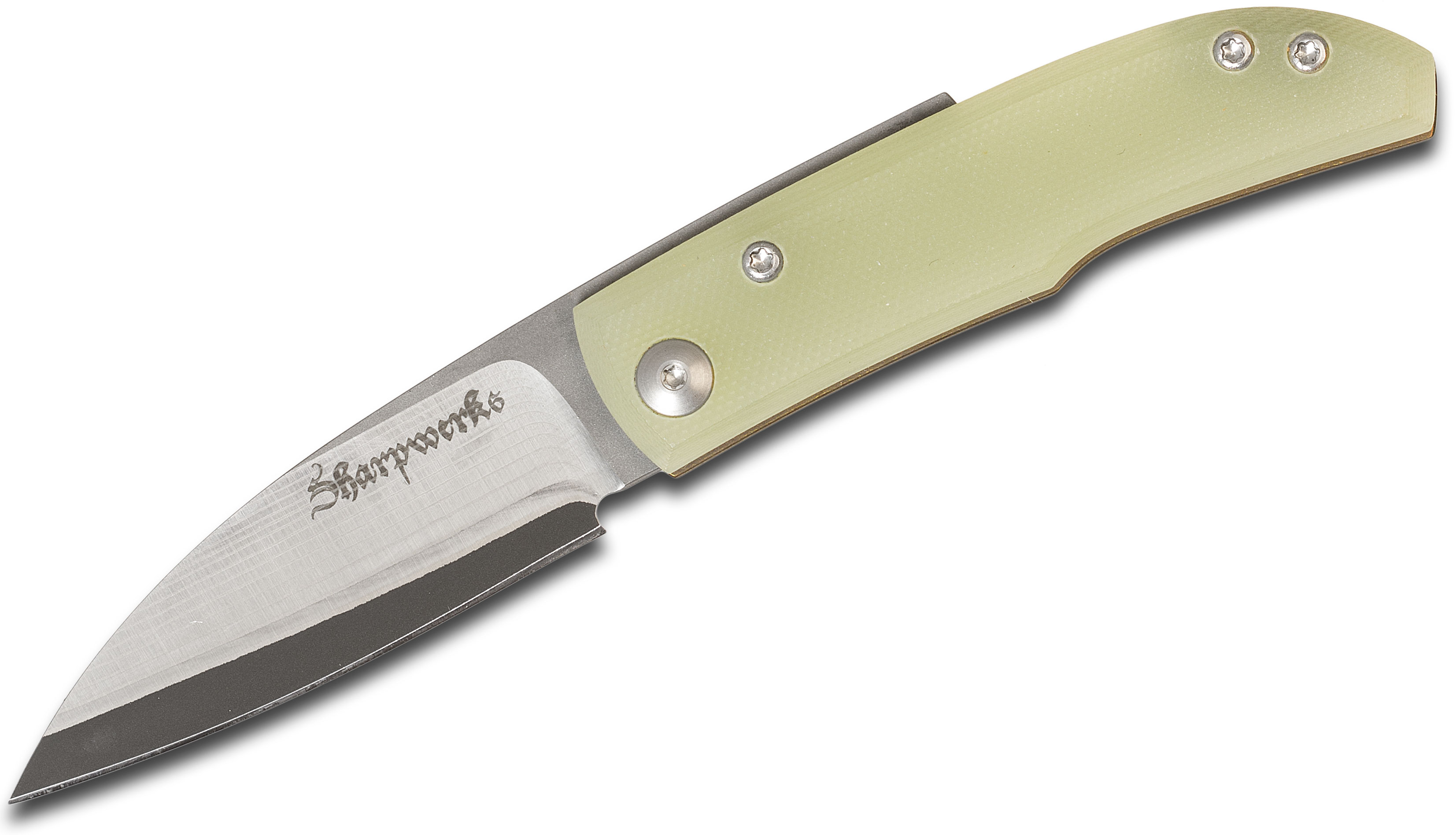 Sharpwerks Custom Friction Folder 2.75 inch 300 Stainless With A VG10 Core  Wharncliffe Blade,Translucent Green G10/Titanium Handles, Leather Sheath