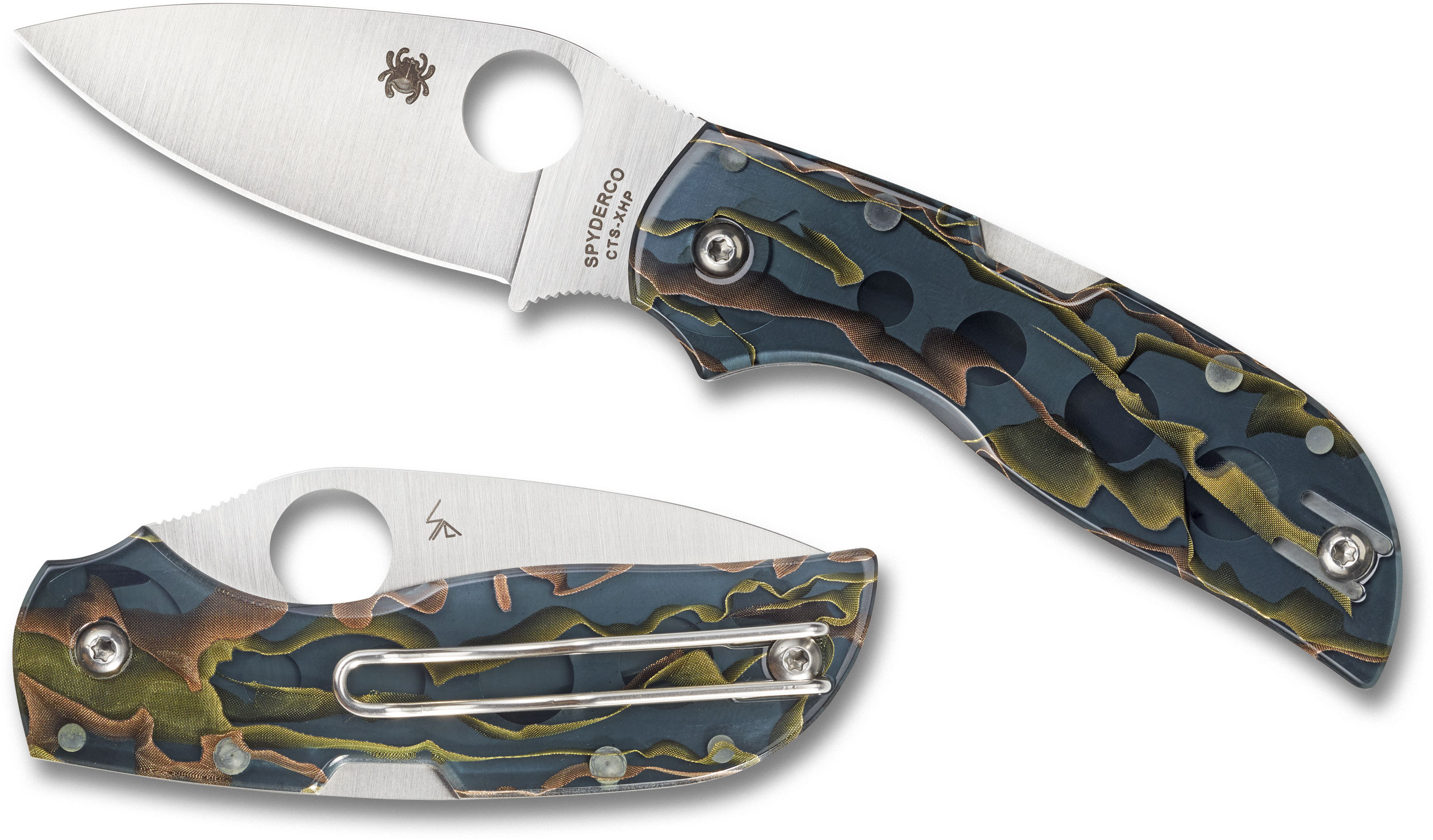 Spyderco Chaparral Folding Knife 2.8 inch CTS XHP Satin Plain Blade, Raffir Noble Handles (Coloration and Pattern May Vary)