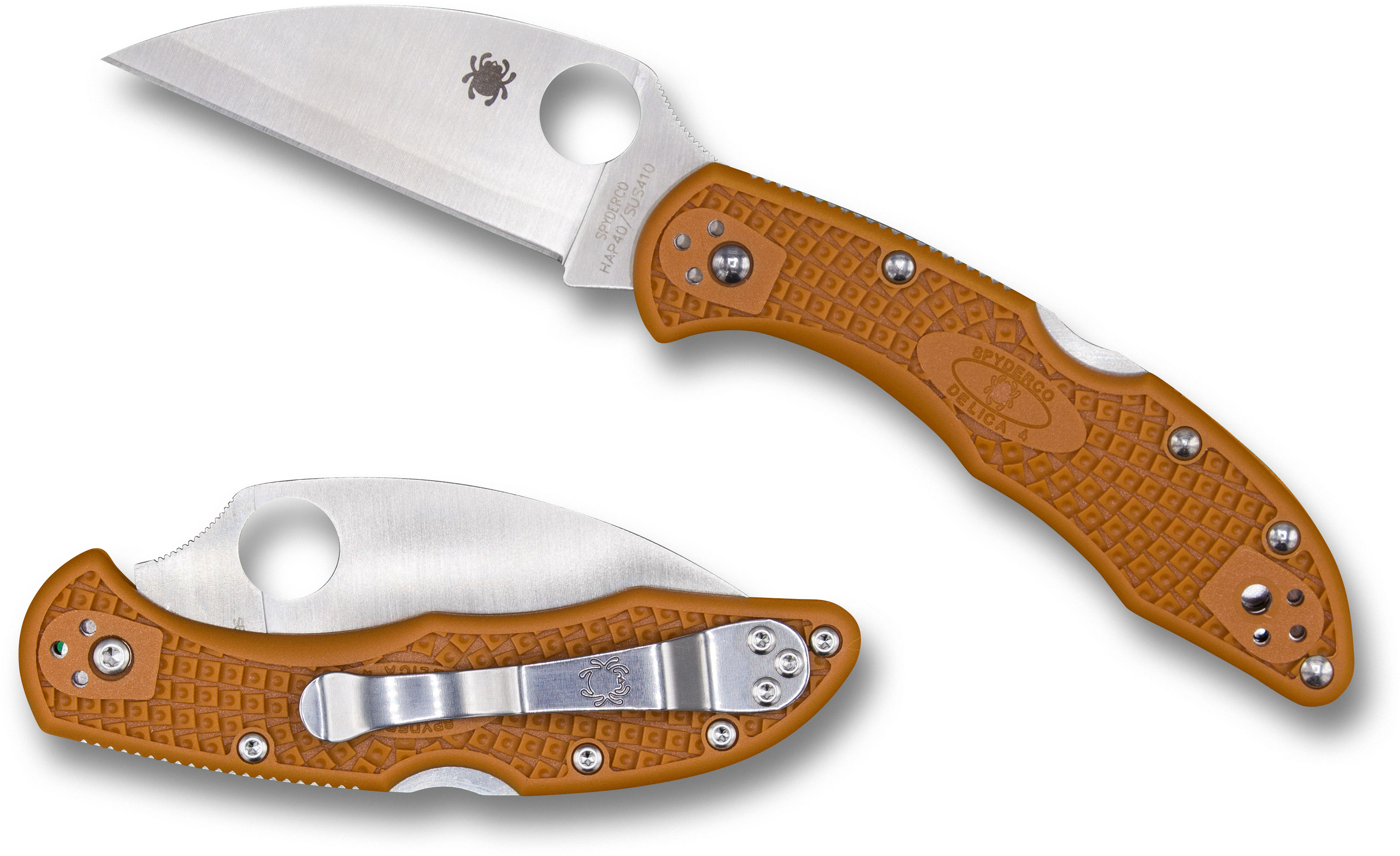 Spyderco Delica 4 Wharncliffe Folding Knife 2.87 inch HAP40 Satin Plain Blade, Burnt Orange FRN Handles, Sprint Run