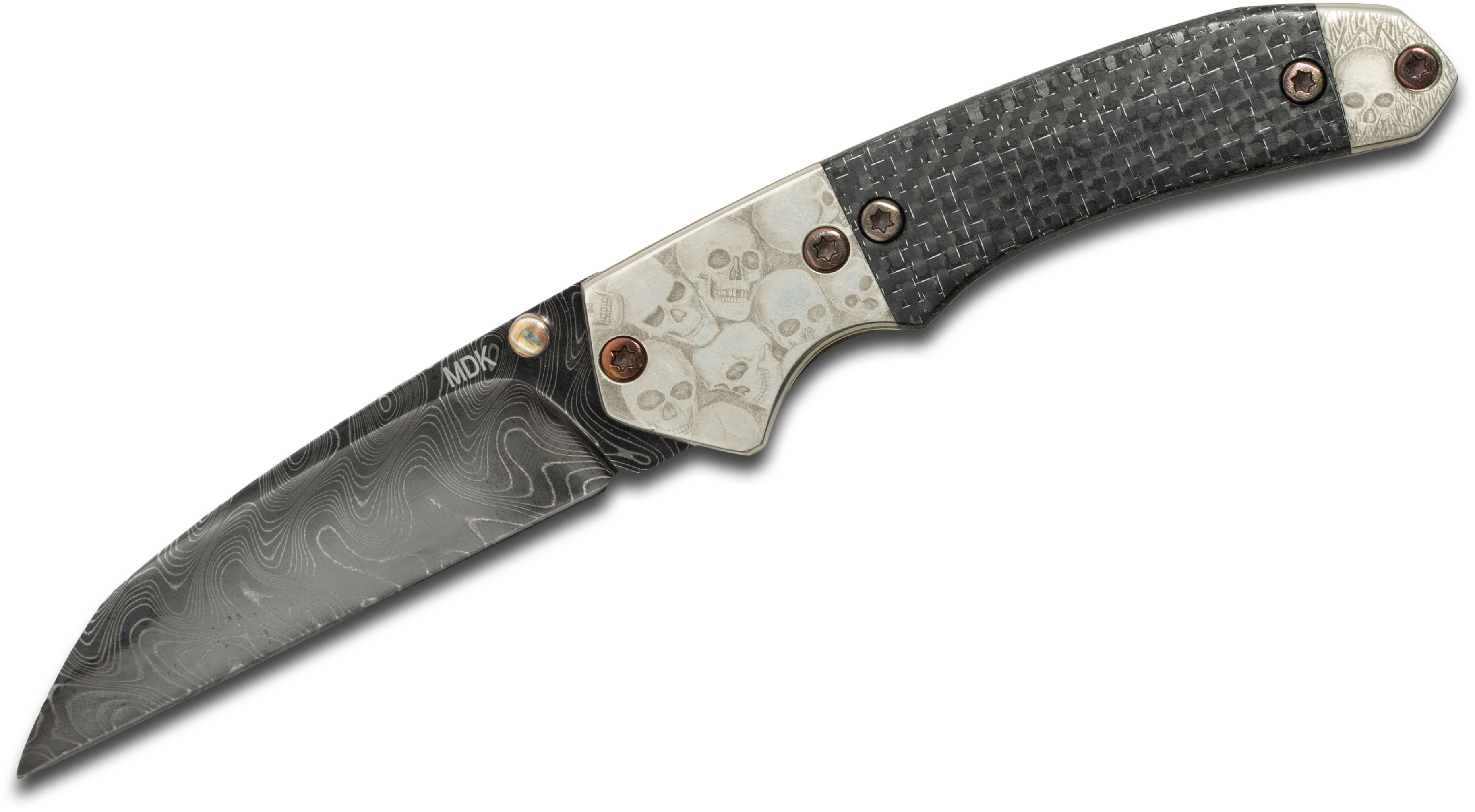 Mr Damascus Knives Tactical Folding Knife 3.375 inch Fade Damascus Wharncliffe Blade, Silver Lightning Strike Carbon Fiber Handles with Bulino Engraved Bolsters