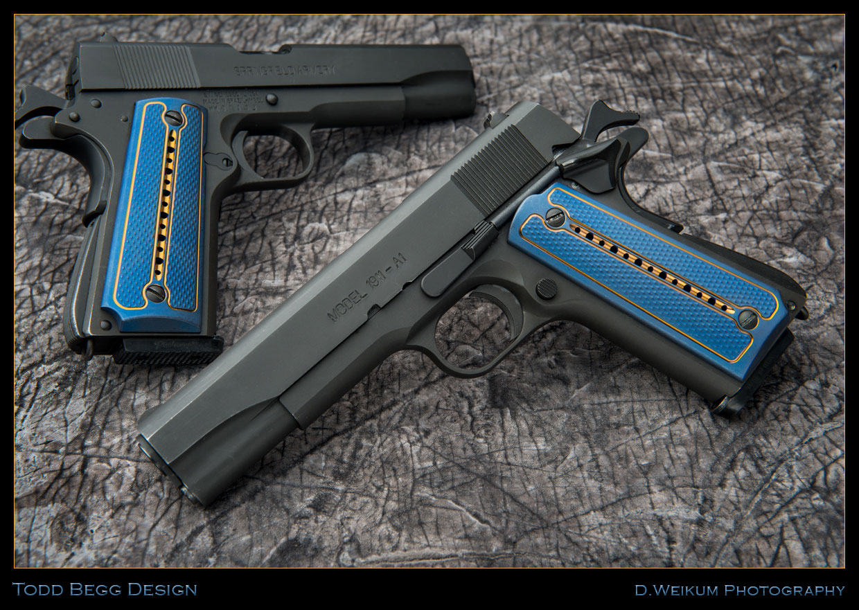 Todd Begg Custom Titanium 1911 Kwaiken Grips Blue And
