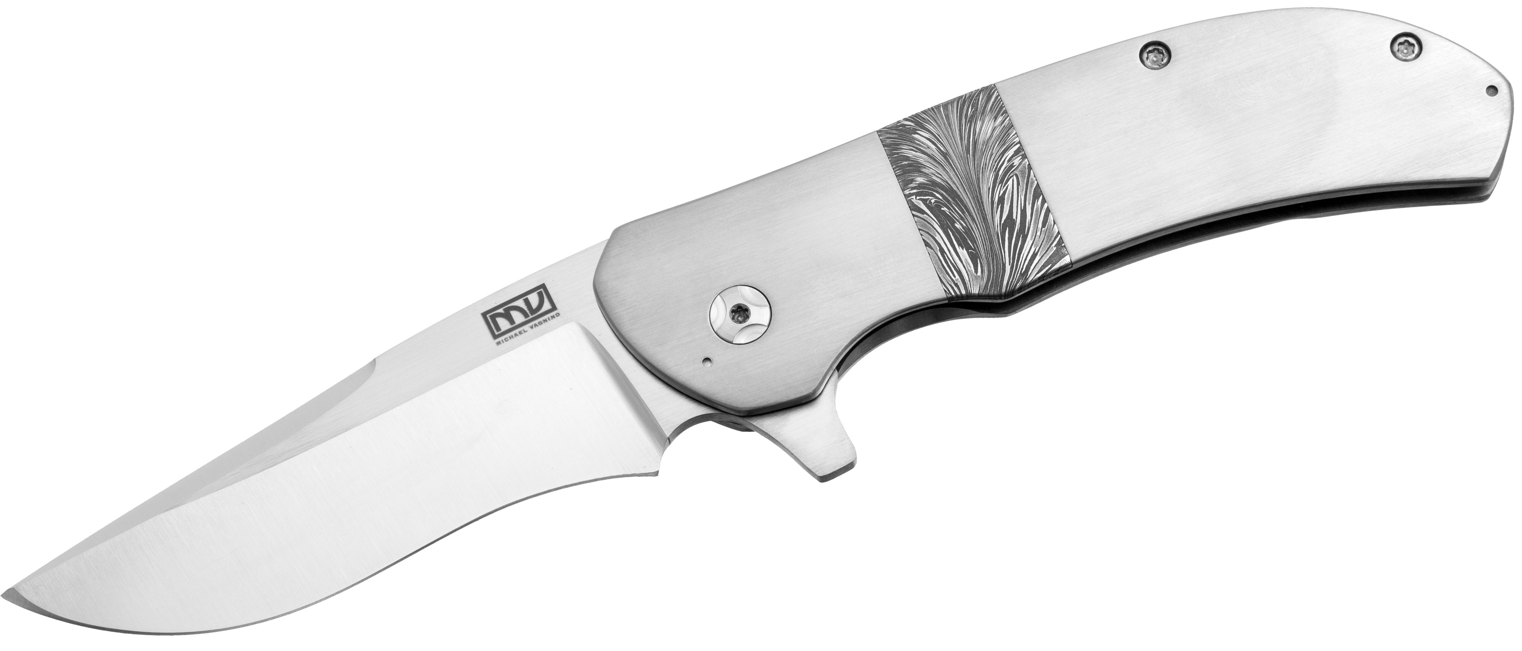 Mike Vagnino Custom Eliminator Flipper 3.375 inch CTS-XHP Drop Point Blade, Titanium Handles with Eruption Damascus Inlay
