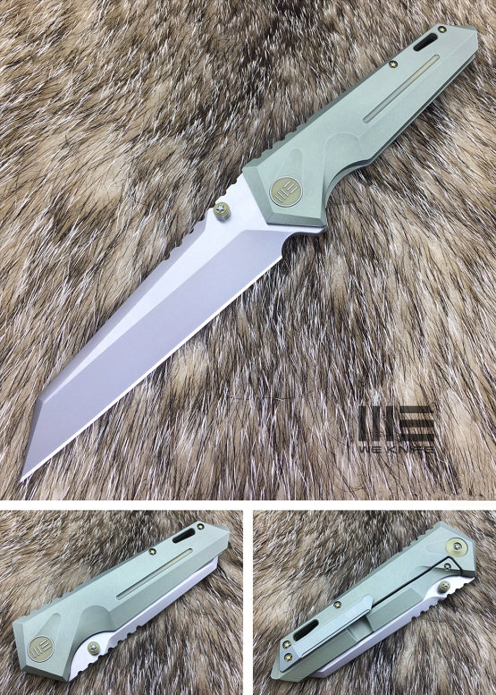 We Knife Company 609F Folding Knife 4.1 inch S35VN Two-Tone Reverse Tanto Blade, Green Anodized Titanium Handles