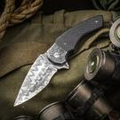 Butch Ball Custom Boomslang Prototype Flipper 3.5 inch Polished Nichols Ladder Damascus Blade, Carbon Fiber Handles with Eggerling Damascus Bolsters