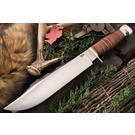 Bark River Knives 1909 Michigan Bowie Fixed 10 inch A2 Tool Steel Blade, Stacked Leather Handle, Leather Sheath