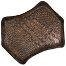 Greg Everett Handcrafted Custom Gator Stamped Leather Valet Tray 11 inch X 8 inch, Brown Finish