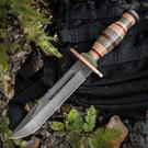 KA-BAR PTK-BLU Limited Edition Fighting Knife 7 inch Plain Blued Blade, Stacked Micarta and Leather Handles, Leather Sheath