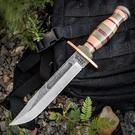 KA-BAR PTK-SIL Limited Edition Fighting Knife 7 inch Plain Silver Blade, Stacked Micarta and Leather Handles, Leather Sheath