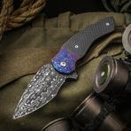 Butch Ball Custom Boomslang Flipper 3.375 inch Nichols Cheetah Damascus Blade, Carbon Fiber Handles with Timascus Bolsters and Clip
