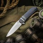Herucus Blomerus Custom LL 14 Flipper 3.75 inch N690 Hand Rubbed Satin Blade, Blue Lightning Strike Carbon Fiber Handles with Textured Zirconium Bolsters
