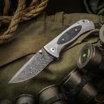 Les George Custom FM-1 Folding Knife 3.625 inch Nichols Boomerang Damascus Blade, 3D Machined Titanium Handles with Marble Carbon Fiber Inlay