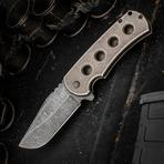 Jonathan McNees Performance Machined PM-1 Flipper 3.25 inch CPM-154 Acid Washed Blade, Bronze Milled Titanium Handles