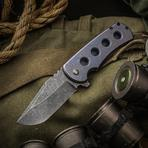 Jonathan McNees Performance Machined PM-1 Flipper 3.25 inch CPM-154 Acid Washed Blade, Blue Milled Titanium Handles
