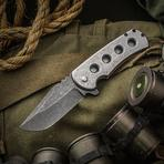 Jonathan McNees Performance Machined PM-1 Flipper 3.25 inch CPM-154 Acid Washed Blade, Milled Titanium Handles