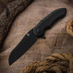 Jerry Moen Mid-Tech Max Evolution Flipper 3.875 inch CTS-XHP Black Cerakoted Blade and Milled Titanium Handles