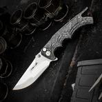 Brian Tighe Custom Fighter Flipper 3.75 inch S90V Core Compound Drop Point Blade, Milled Carbon Fiber Handles