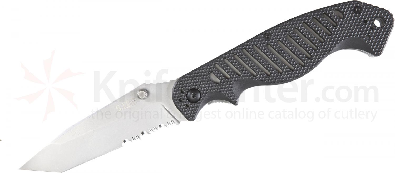 5.11 Tactical CounterStrike 1 Tanto Folding 3-3/4 inch AUS-8 Combo Blade, G10 Handles (51078)