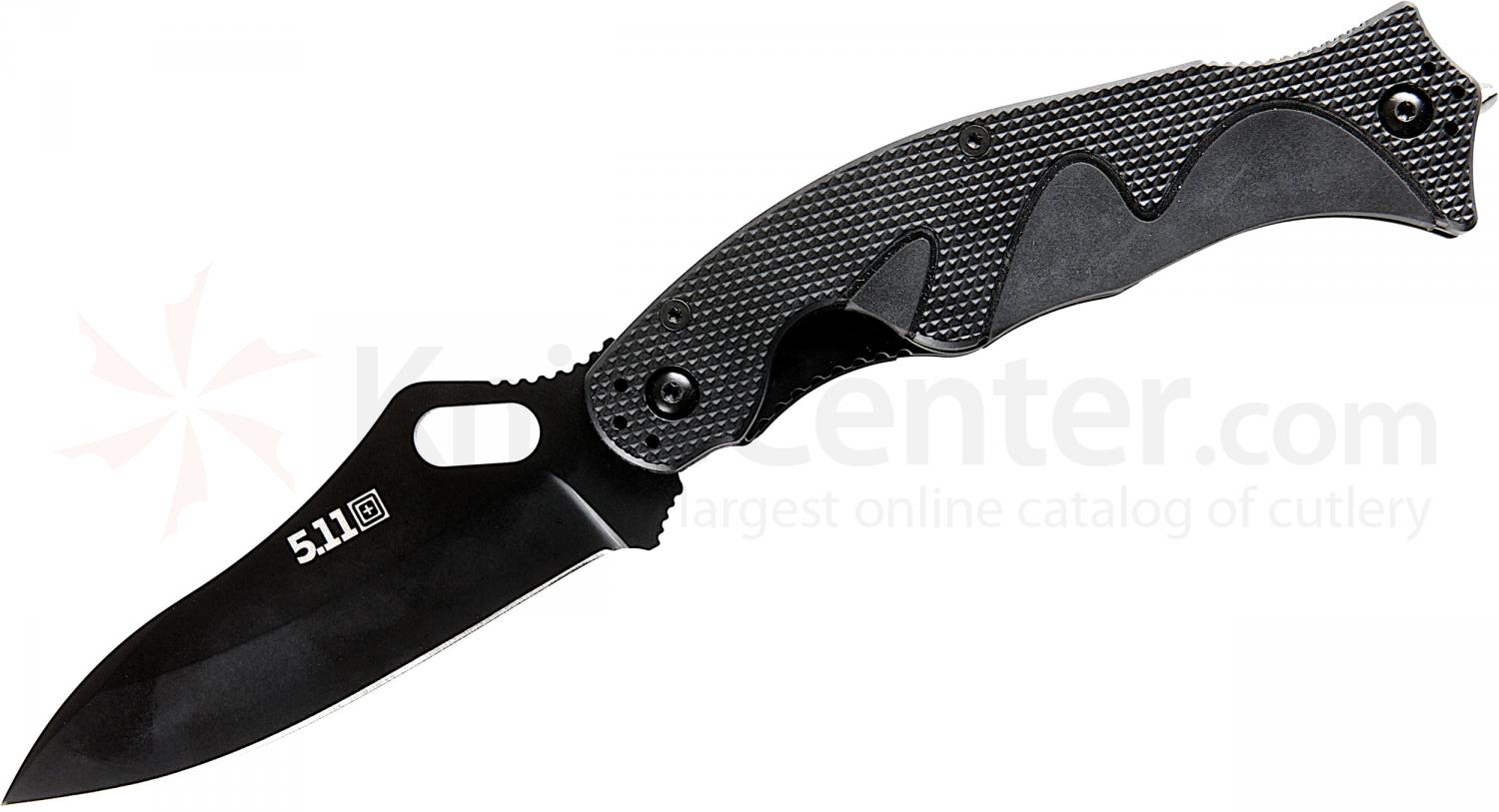 5.11 Tactical Double Duty Quick Fix Folding Knife 3.75 inch Blade, Black FRN Handles (51090)