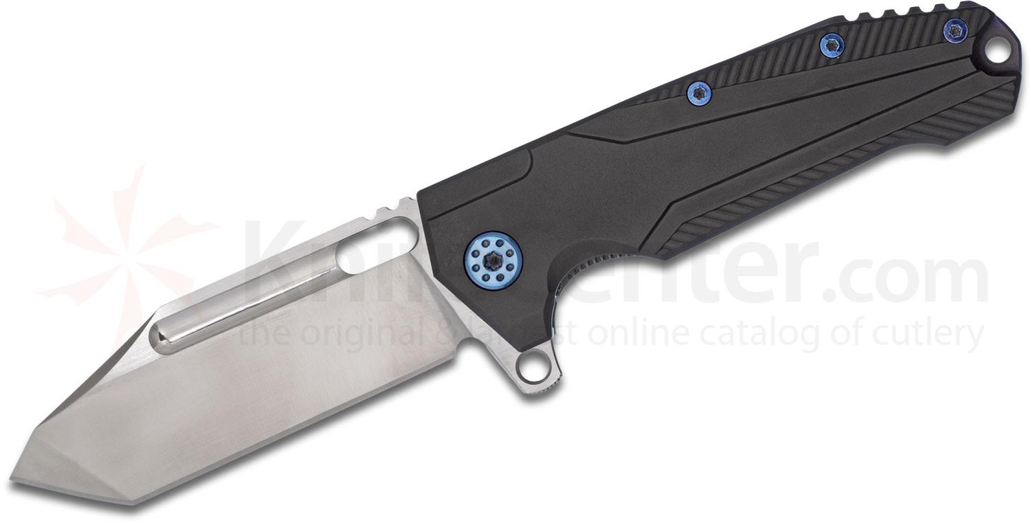 Andre De Villiers Knives Customized Beast Flipper 3.75 inch Two-Tone S35VN Tanto Blade, Black Titanium Handles, Blue Hardware