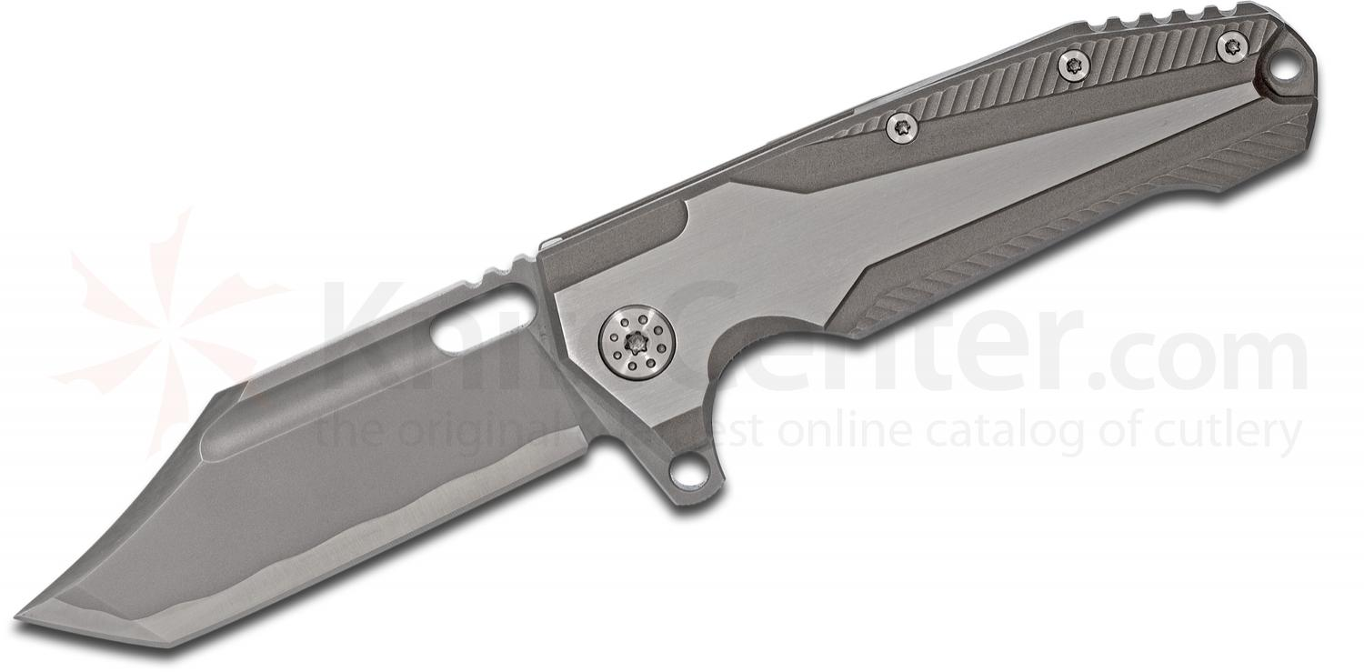 Andre De Villiers Knives Beast Freak #13 Flipper 3.75 inch S35VN Clip Point Tanto Blade, Milled Titanium Handles