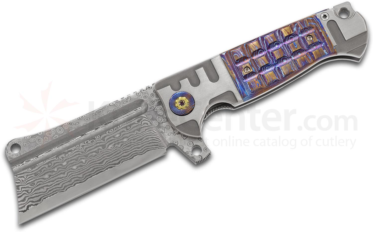 Andre De Villiers Knives Battle Cleaver Flipper Knife 4.125 inch VG-10 Damascus Blade, Milled Titanium Handles with Mokuti Inlays and Pivot Collars