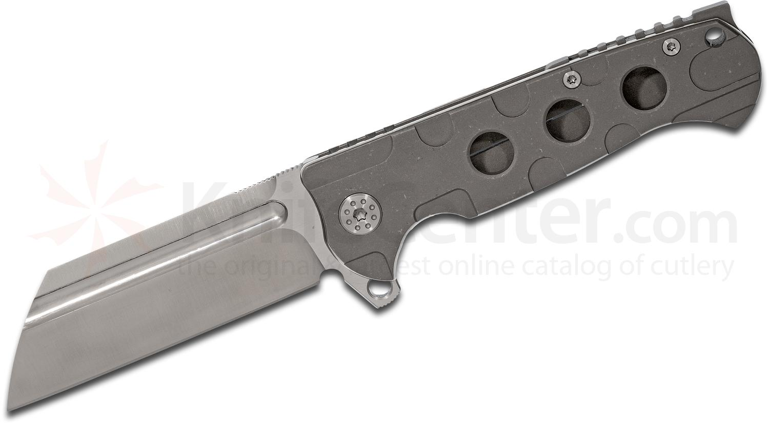Andre De Villiers Knives Classic Butcher #22 Flipper 4 inch S35VN Wharncliffe Satin Blade, Stonewashed Milled Titanium Handles