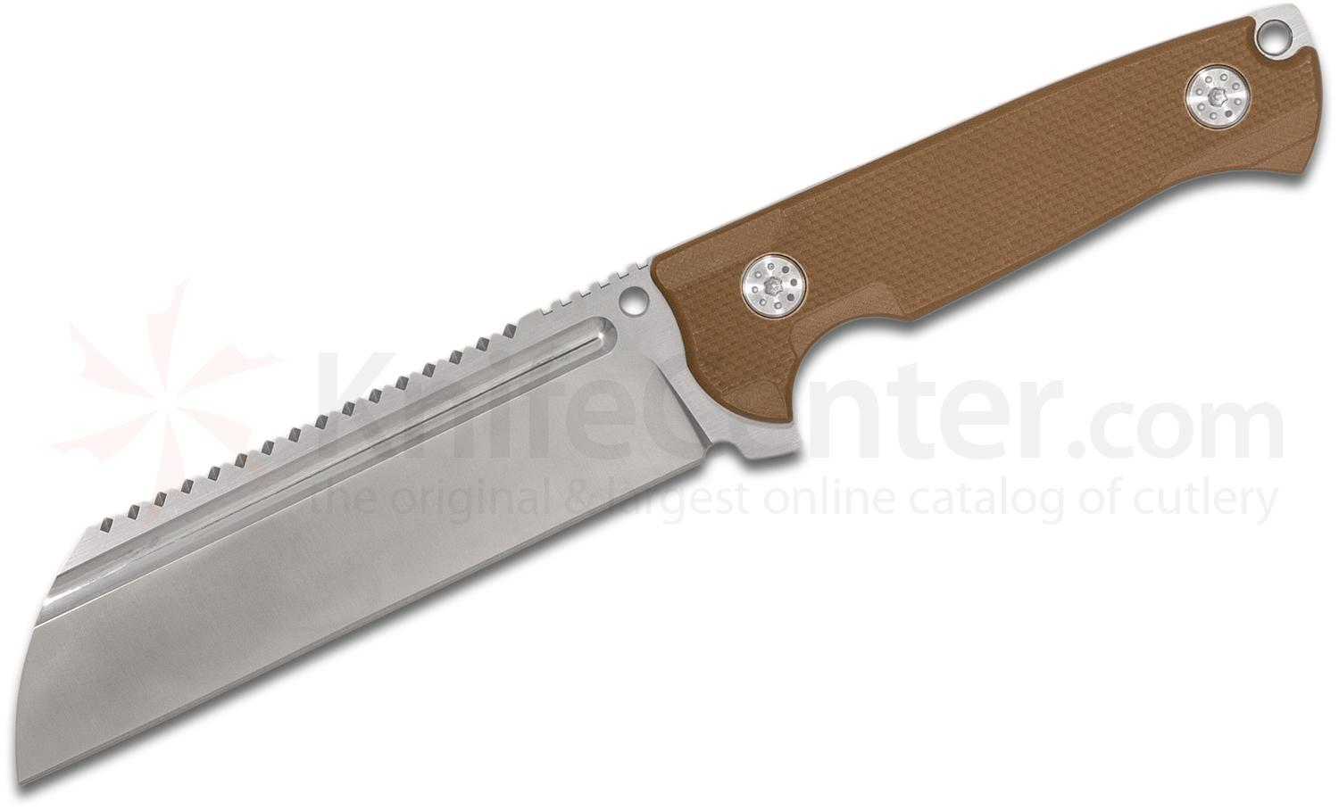 Andre De Villiers Knives Saw Butcher Fixed 6 inch S35VN Sawback Wharncliffe Blade, Tan G10 Handles and Kydex Sheath